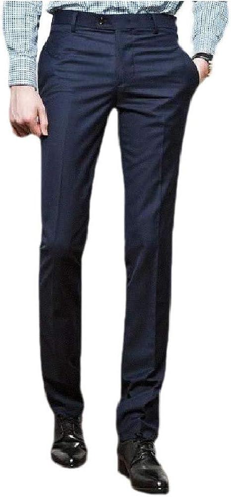 Nicellyer メンズポケット フォーマル ソリッドカラー シワ耐性スタンダードフィットワークパンツ