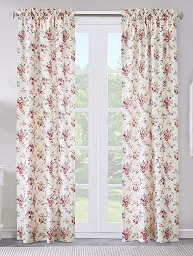 Thermalogic Cabbage Rose Floral Rod Pocket Curtain by Commonwealth (Burgundy, 80W x 84L Pair)