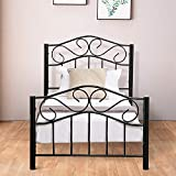 4HOMART Metal Twin Bed Frame, Bed Frames Twin Girl Kids Bed with Headboard and Footboard Black Platform Bed,No Box Spring