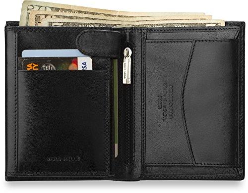 klassische Herren - Geldbörse PIERRE CARDIN Brieftasche in senkrechter Ausführung Naturleder schwarz