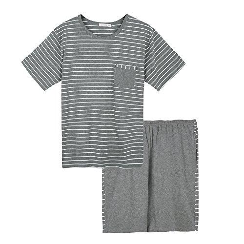 Qianxiu Summer Short Sleeve Classic Stripes Pajama Set For Men Loose Casual Sleepwear Nightdress Nightwear