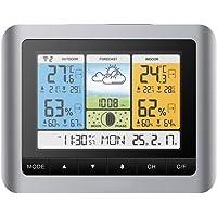 Konesky Station météo sans Fil, baromètre de température Baromètre numérique de température extérieure intérieure avec réveil extérieur avec Pression barométrique