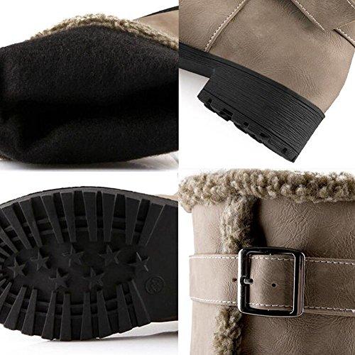 mujer Scrub Moda NSXZ 35 black de YELLOW botas invierno espesamiento 36 altas qx76fEC6n