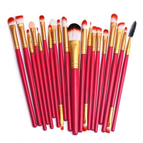 Poluck Professional 20Pcs Eye Makeup Brushes Set Eye Shadow Eyeliner Eyelash Eyebrow Blush Lip Face Powder Cosmetics Makeup Brush Kit (Red (Bronze Eye Brush)