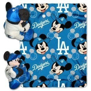 """Los Angeles Dodgers Mickey Mouse Throw And Hugger Plush 40"""" X 50"""""""