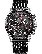 LIGE Montres Hommes Mode Sports Chronographe Etanche Analogique Quartz Acier Inoxydable Classique Calendrier Bracelet Montres