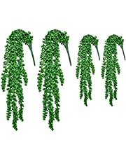 4PCS Artificial String of Pearls Succulent, Fake Hanging Vine Plant for Wedding Party Home Garden Wall Decor, Faux Donkeys Tail Sedum Morganianum Burro Trailing Succulent, Lover Tears Basketplant
