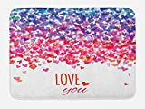 Ambesonne Love Bath Mat, Hearts and Love You Message Romantic Valentine's Day Inspired Springtime Cheerful Art, Plush Bathroom Decor Mat with Non Slip Backing, 29.5 W X 17.5 W Inches, Multicolor