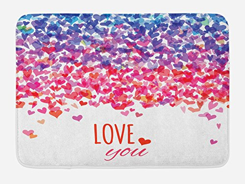 Ambesonne Love Bath Mat, Hearts and Love You Message Romantic Valentine's Day Inspired Springtime Cheerful Art, Plush Bathroom Decor Mat with Non Slip Backing, 29.5 W X 17.5 W Inches, Multicolor by Ambesonne