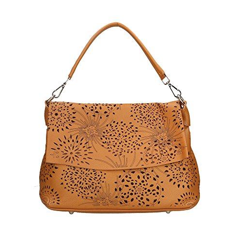 Aren Mujer bolsa de hombro en cuero genuino Made in Italy - 34x25x13 Cm Bronceado
