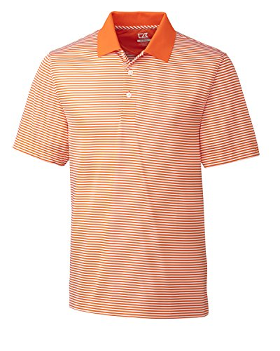 Cutter and Buck Big and Tall CB Drytec Trevor Stripe Polo (Orange 4X-T)