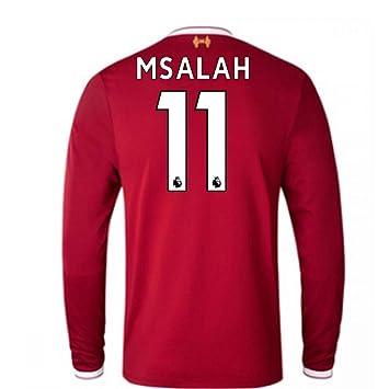 71e617912 2017-18 Liverpool Home Long Sleeve Football Soccer T-Shirt (Kids) (Mohammad  Salah 11)  Amazon.co.uk  Sports   Outdoors