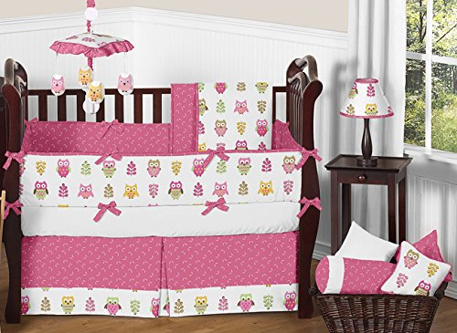 Sweet Jojo Designs 9-Piece Pink Happy Owl Forest Nature Baby Girl Bedding Crib Set