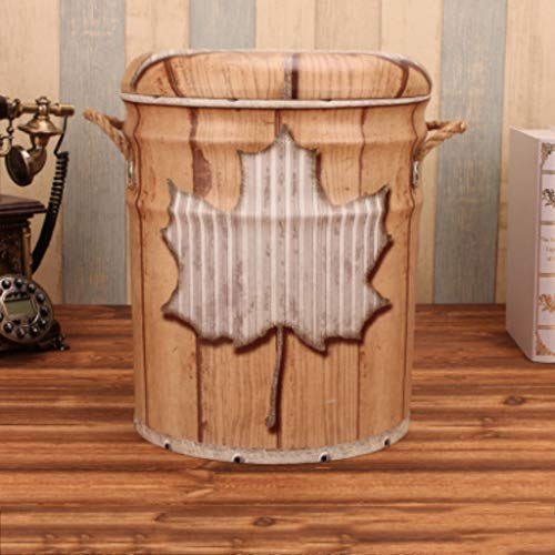 Maple Desk Country (SLH Maple Leaf Pattern American Retro Country Old Iron Barrel Stool Creative Portable Bucket Storage Stool)
