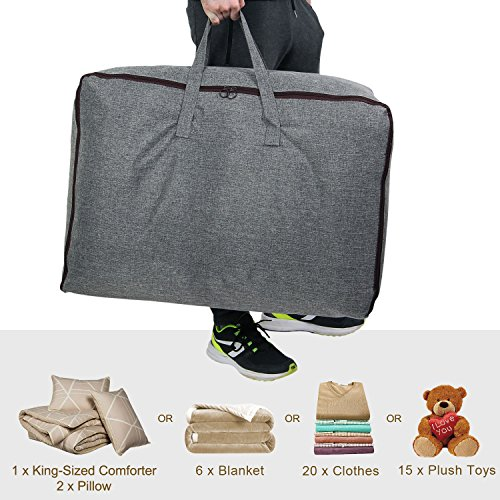 Lifewit Water Resistant Thick Large Capacity Storage Bag, Folding Linen Storage Organizer Bags, Under Bed Storage, College Carrying Bag for Bedding Comforters, Blanket, Clothes, 100L, Grey by Lifewit (Image #2)