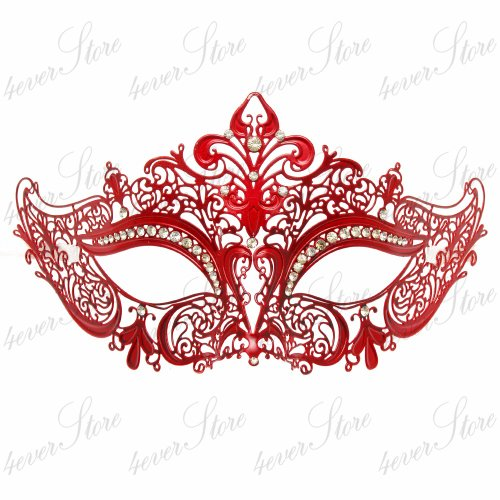 Luxury Collection Metal Laser Cut Venetian Masquerade Mask (Red)