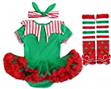 FANCYINN Baby Girls 1st Christmas Outfit Xmas Costume Party Tutu Dress Romper 3Pcs Set