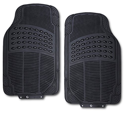Zone Tech All Weather Rubber Semi Pattern Car Interior Front Floor Mats - 2-Piece Set Back Heavy Duty Car Interior Front Floor Mats