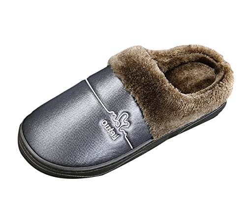 Insun Mens Plush Warm Slip On Slippers House Indoor Outdoor Army cKE2i
