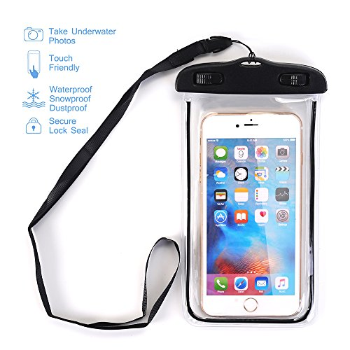 Waterproof Case, SUMOON Universal Clear Waterproof Cellphone Case - Best Waterproof, Dustproof, Snowproof Bag for iPhone, Samsung Galaxy, LG and Other Smartphones up to 5.5 Inch (Black)