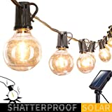 Solar Outdoor String Lights-20Ft. Shatterproof G40 Globe Patio Lights with 20 LED Bulbs & 4 Light Modes, Outdoor Hanging Lights for Patio Garden Backyard Bistro Pergola Gazebo Party Decor, Black Wire