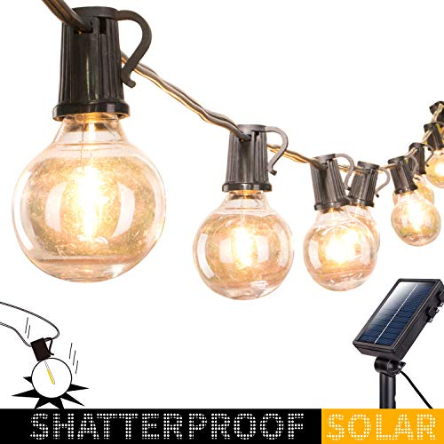 Solar Outdoor String Lights-20Ft. Shatterproof G40 Globe Patio Lights with 20 LED Bulbs & 4 Light Modes, Outdoor Hanging Lights for Patio Garden Backyard Bistro Pergola Gazebo Party Decor, Black Wire (Outdoor Light Strings Solar)