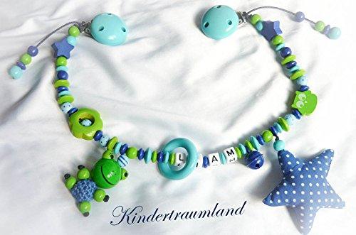 Kinderwagenkette für Jungen mit Wunschnamen - Geschenk zur Taufe, Geburt (Grün, Blau, Großer Stern, Frosch)
