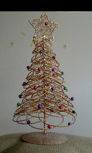retro phone co gold wire spiral christmas tree decarated with green and red baubels with a gold star topper ornament great for the homeoffice - Wire Christmas Tree