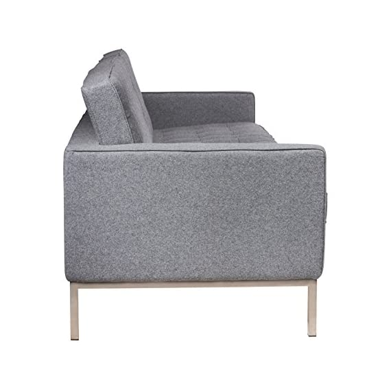 LeisureMod Florence Style Mid Century Modern Tufted Sofa (Light Grey Wool) -  - sofas-couches, living-room-furniture, living-room - 51flR7YX5QL. SS570  -