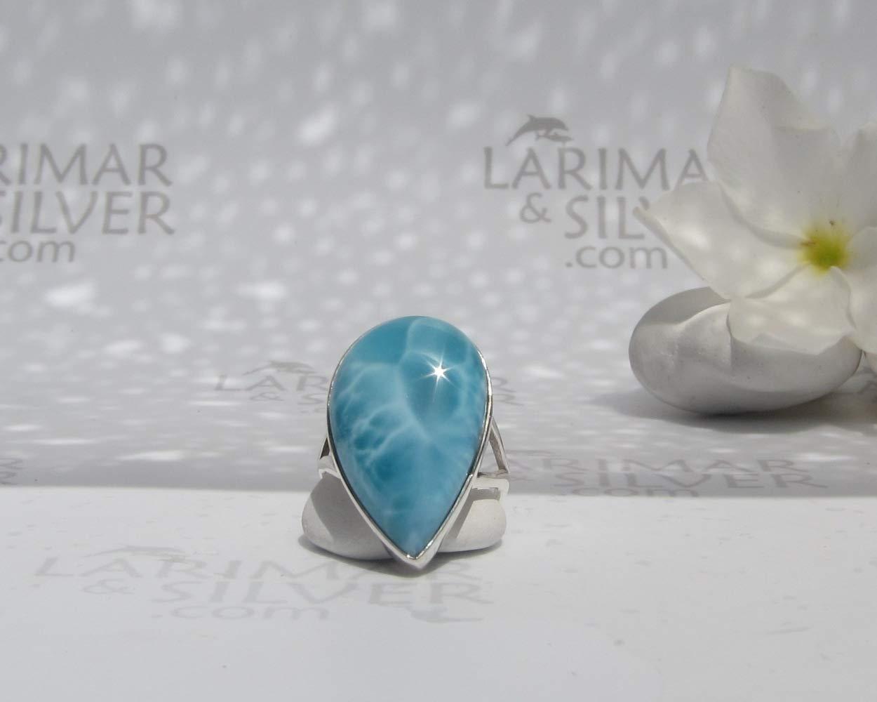 Larimar ring size 7.5 by Larimarandsilver Larimar ring 925 silverblue topaz ringwater dropLarimar jewelrybest gift woman C\u00f4te d\u2019Azure