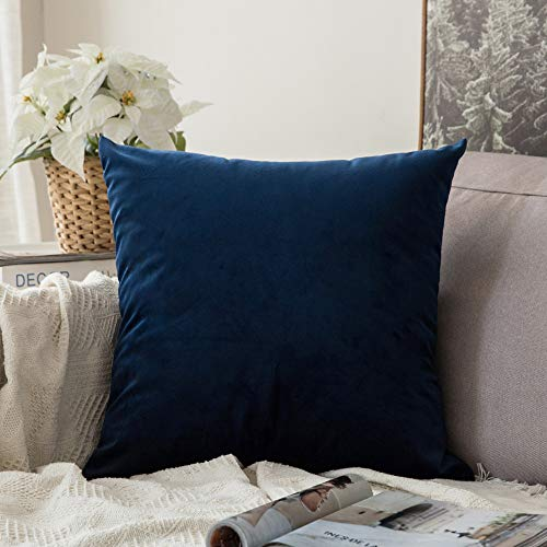 MIULEE Velvet Soft Solid Decorative Square Throw Pillow Covers Cushion Case for Sofa Bedroom Car 16 x 16 Inch 40 x 40 cm Dark Blue ()