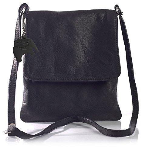 Pequeño LxA tipo Piel Auténtica negro Bolso Negro para Blanda cm en Dama BHBS 18x23 Bandolera 5Uq4Txnw