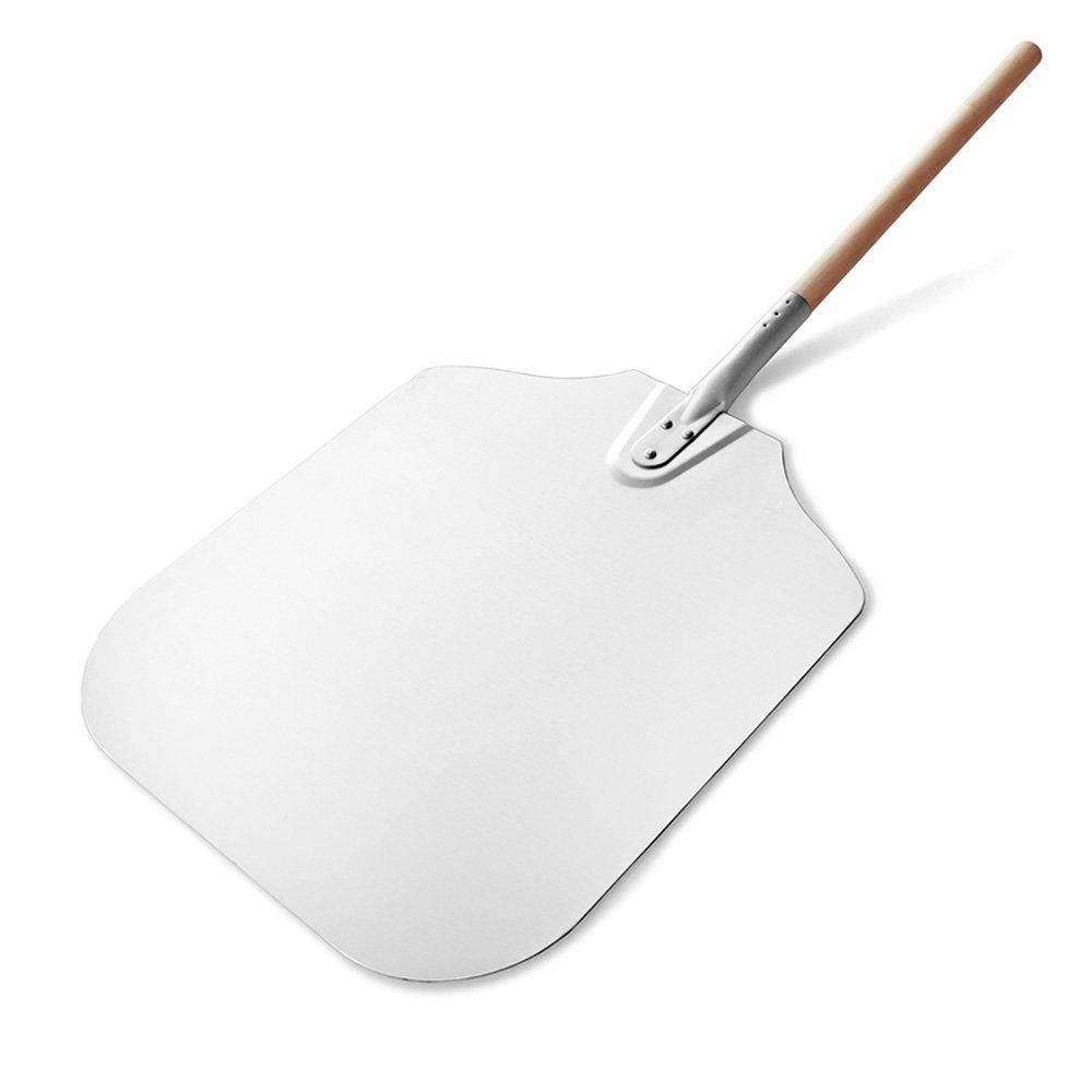 "New Star Foodservice Inc. 50196 Wooden Pizza Peel, 16"" x 18"" x 36"", Aluminum w/wood handle"