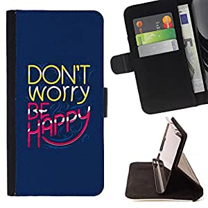 Devil Case- Style PU Leather Case Wallet Flip Stand Flap Closure Cover FOR Samsung Galaxy S6 Edge G9250 G925F- Don't worry be happy
