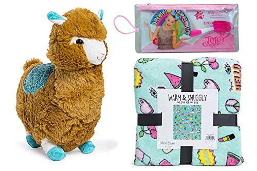 Ropeastar Kelly Toy Llama Plush with Warm and Snuggle Throw Blanket Includes JoJo Siwa Toothbrush (Brown)