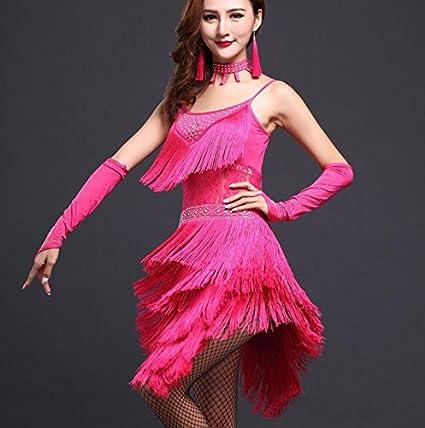 Mangas Vestido de Salsa de Collar Trajes de Samba Mujer Vestido de Danza Latina Traje de la Danza de Las Mujeres Vestido 3pcs Conjunto