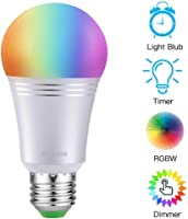 AUSEIN Bombilla LED Inteligente, WiFi Bombillas Inteligentes 6000K 7W Dimmable Smartphone de Color Controlado Luz...