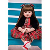 PURSUEBABY Beautiful Soft Body Lifelike Toddler Princess Girl Doll with Long Hair Valentina, 24 Inch Real Life Reborn Toddler Cuddle Doll for Christmas