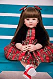 Pursue Baby Beautiful Soft Body Lifelike Poseable Baby Princess Girl Doll Valentina, 24 Inch Real Life Weighted Toddler Baby Cuddle Doll for Christmas