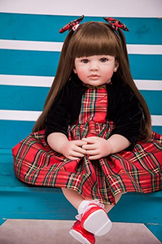 PURSUEBABY Beautiful Soft Body Lifelike Toddler Princess Girl Doll Long Hair Valentina, 24 inch Real Life Reborn Toddler Cuddle Doll Christmas