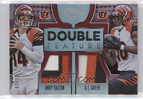 Football NFL 2016 Gala Double Feature Memorabilia Crimson #20 A.J. Green/Andy Dalton MEM /10 Bengals by