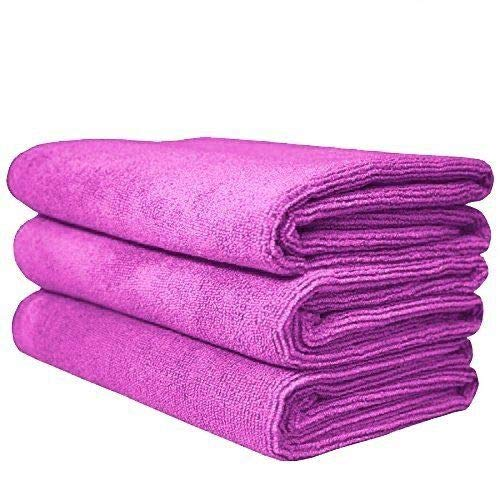 The Rag Company (3-Pack 16 in. x 27 in. Sport, Gym, Exercise, Fitness, Spa & Workout Towel - Ultra Soft, Super Absorbent, Fast Drying 320gsm Premium Microfiber (Lavender Purple, 16x27)