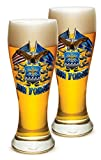 Pilsner US Air Force Gifts for Men or Women – USAF Beer Glassware – Double Flag Air Force Barware Glass - Set of 2 (23 Oz)