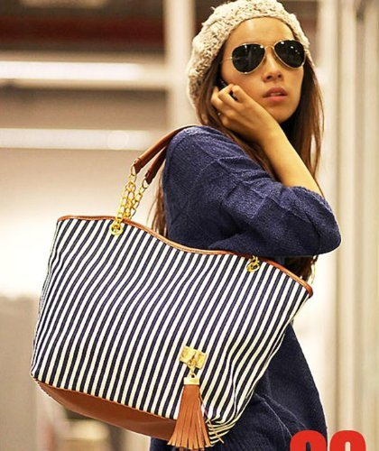 Hunnt® Tobey New Fashion Stripe Design Women Street Snap Candid Tote Single Shoulder Canvas Bag Handbag Three Colors Available Red Blue Black (Blue)