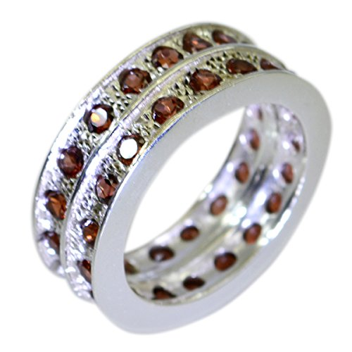 - CaratYogi Round Shape Genuine Garnet Silver Rings Cluster Style Healing for Her Size 6.5
