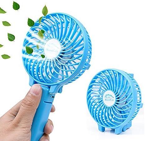 Mini Fan USB Mini Fan Mini USB Rechargeable Hand Held Electric Fan Folding Portable Rechargeable Fan Cool USB Gadgets #2,Blue