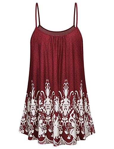 Tanst Women Long Tank Tops, Womens Cool Summer Tunics Casual Printed Sleeveless Comfy Fit and Flare Zulily Simple Stretchy Spaghetti Strap Camisoles Shirts Tanks Red - Tunic Breezy Printed