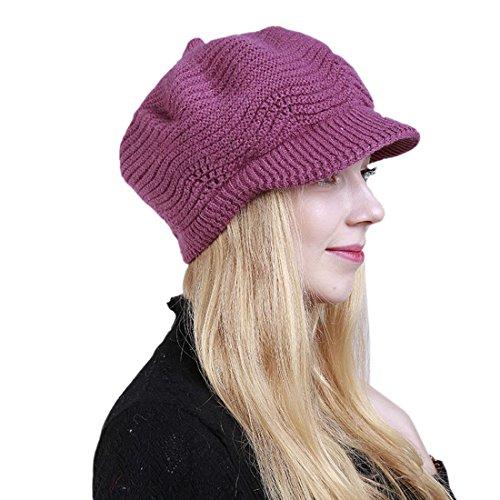 Casquette Chapeau Bonnet Femme Acvip Couleur De Rose Pure Tricoté Plate Rouge Laine Fil 50SwHS