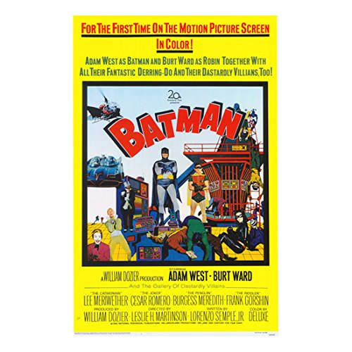 Batman: The Movie (1966) 11 inch x 17 inch lithograph Yellow Background Movie Poster Artwork -
