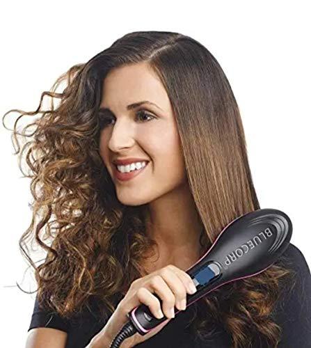 BLUECORP® ENTERPRISE Hair Electric Comb Brush 3 in 1 Ceramic Fast Hair Straightener For Women's Hair Straightening Brush with LCD Screen, Temperature Control Display,Hair Straightener For Women
